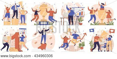 Business Award Collection Of Scenes Isolated. People Celebrating Success, Achieving Goals And Win, S