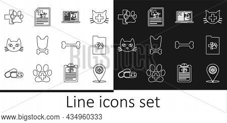 Set Line Location Veterinary, Clinical Record Pet, Laptop, Dog And Bone, Cat, Veterinary Clinic, And