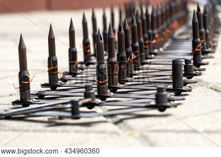 Police Road Block With Metal A Sharp  Spikes