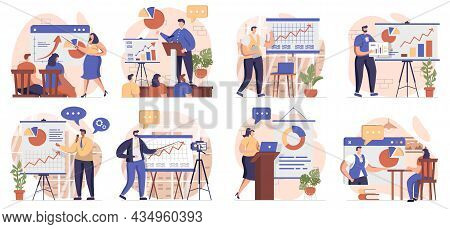 Coach Speaking Collection Of Scenes Isolated. People Learn At Business Training, Career Development,