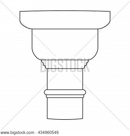 Ancient Column Vector Outline Icon. Vector Illustration Pillar Of Antique On White Background. Isola