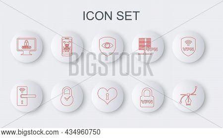 Set Line Bezier Curve, Digital Door Lock With Wireless, Shield And Eye, Lock Vpn, Monitor Password,