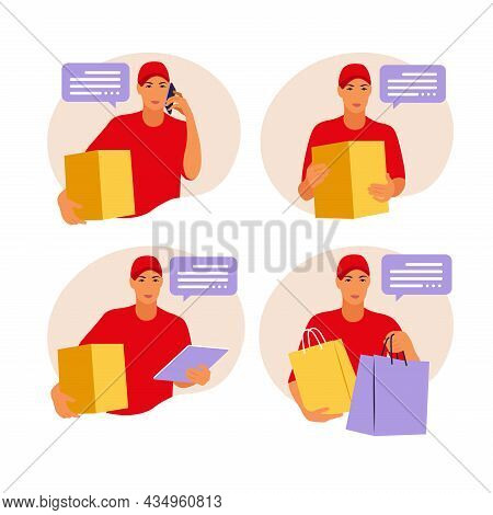 Man Holding A Box. Ourier Delivers The Parcel . Vector Illustration Isolate On A White Background
