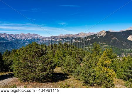 Panoramic View Of The Mercantour National Park Near Valberg, French Alps, France In Europe
