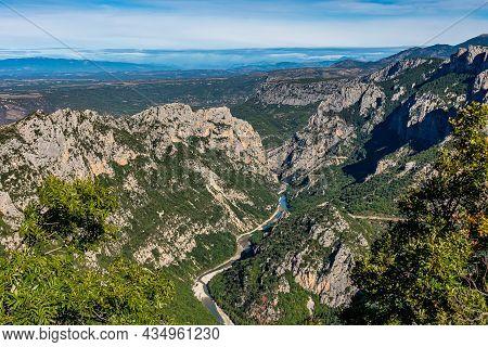 Verdon Gorge, Gorges Du Verdon, Amazing Landscape Of The Famous Canyon With Winding Turquoise-green