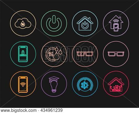 Set Line Smart Home, Glasses, Humidity, Mobile And Password Protection, Glasses And Power Button Ico