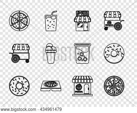 Set Line Donut, Pizza, Pizzeria Building Facade, Cardboard Box, Ice Cream, And Icon. Vector