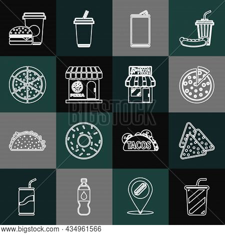 Set Line Glass With Water, Nachos, Pizza, Aluminum Can, Pizzeria Building Facade, Coffee And Burger