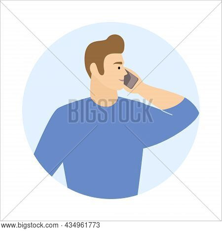 Caucasian Man Call Mobile Phone Working As Helpdesk Or User Support Operator. Guy Talking Cellphone