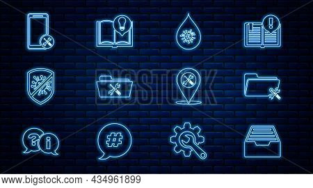 Set Line Drawer With Documents, Folder Service, Dirty Water Drop, Stop Virus, Bacteria, Mobile, Loca