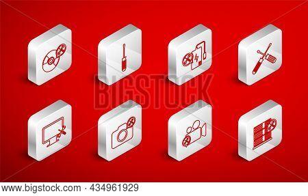 Set Line Database Server Service, Screwdriver, Power Bank, Crossed Screwdrivers, Video Camera, Cd Or