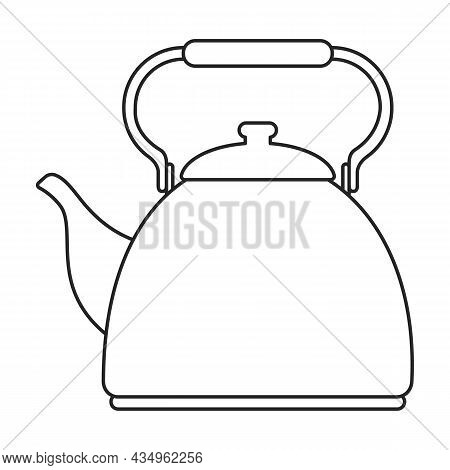 Kettle Vector Outline Icon. Vector Illustration Teapot On White Background. Isolated Outline Illustr