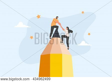 Success Female Entrepreneur, Woman Leadership Or Challenge And Achievement Concept. Creative Teamwor