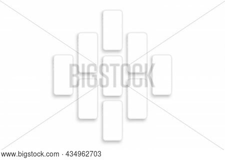 White Clay Phones With Blank Screens. Mockup To Showcasing Screenshots Mobile Apps. Vector Illustrat