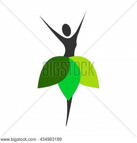 Beautiful Woman Emblem - Girl With Fresh Green Leaf On White Background.natural Beauty Logo Design I