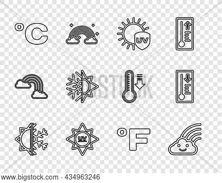Set Line Sun And Snowflake, Rainbow With Cloud, Uv Protection, Celsius, Fahrenheit And Meteorology T