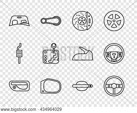 Set Line Car Door Handle, Steering Wheel, Brake Disk With Caliper, Mirror, Windscreen, Gear Shifter,