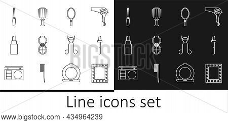 Set Line Makeup Mirror With Lights, Pipette, Hand, Powder, Lipstick, Nail File, Eyelash Curler And H