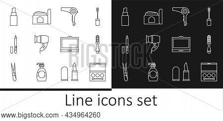 Set Line Eye Shadow Palette, Hairbrush, Dryer, Eyeliner, Eyebrow, Lipstick, Makeup Powder With Mirro