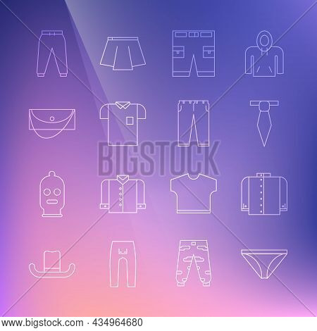 Set Line Men Underpants, T-shirt, Tie, Short Or, Polo, Clutch Bag, Sport And Pants Icon. Vector