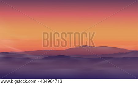 Morning Sunrise With Color Sky In Orange,yellow,pink And Magenta With Mountains Background,dramatic