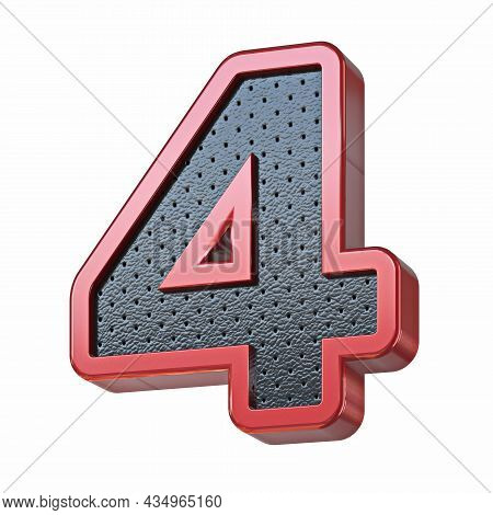 Red Shinny Metal And Black Leather Font Number 4 Four 3d Render Illustration Isolated On White Backg