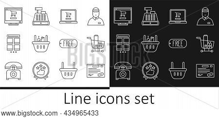 Set Line Warranty Certificate Template, Shopping Cart And Food, On Laptop, Basket, Online Shopping M