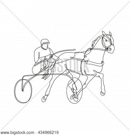 Continuous Line Drawing Illustration Of A Jockey And Horse Harness Racing Side View Inside Circle Do