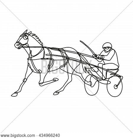 Continuous Line Drawing Illustration Of A Jockey And Horse Harness Racing Side View Done In Mono Lin
