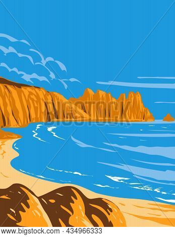 Art Deco Or Wpa Poster Of Logan Rock On Treen Cliff In Cornwall, England, Uk Done In Works Project A