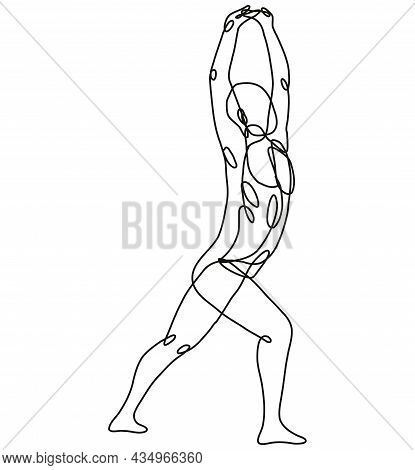 Continuous Line Drawing Illustration Of A Nude Male Human Figure Standing And Stretching His Arms Vi