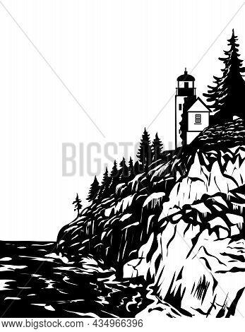 Wpa Woodcut Poster Art Of Bass Harbor Head Lighthouse In Acadia National Park, Hancock County Maine