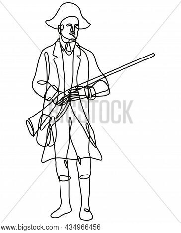 Continuous Line Drawing Illustration Of An American Patriot Revolutionary Soldier With Musket Rifle