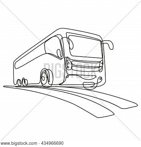 Continuous Line Drawing Illustration Of A Tourist Coach Or Shuttle Bus Low Angle View Done In Mono L