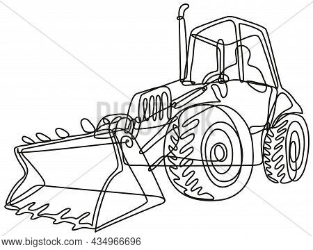 Continuous Line Drawing Illustration Of A Country Tractor Digger With Bucket Front Loader Done In Mo