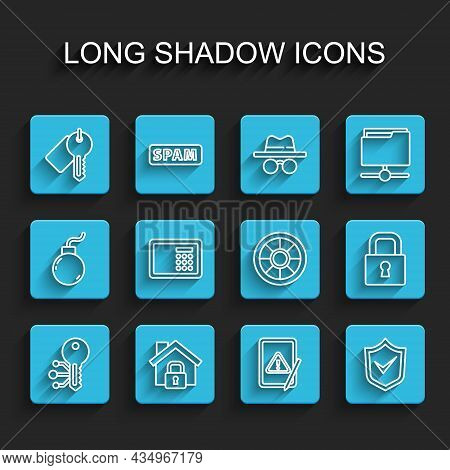 Set Line Cryptocurrency Key, House Under Protection, Marked, Tablet With Exclamation Mark, Shield Ch