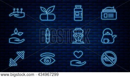 Set Line Food No Diet, Teapot With Cup, Collagen Serum, Pipette, Leaf In Hand, Acupuncture Therapy,