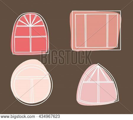 Big Panoramic Window And Beautiful Abstract Color Spots, Flower Frames Around The Window, Collection