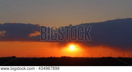 Beautiful And Romantic Sunset In Stunning Yellow And Orange Colors