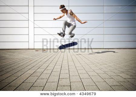 Skater Making A Flip