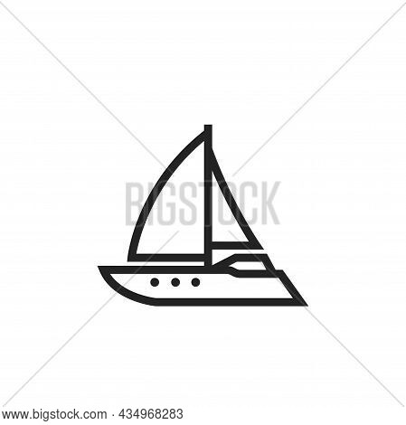 Sailing Yacht Line Icon. Sailboat For Sea Travel