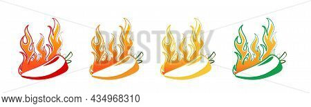Spicy Hot Chili Pepper Icons Set With Flame And Rating Of Spicy Mild, Medium Hot And Extra Hot Level