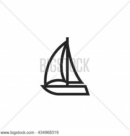 Sailboat Line Icon. Yacht For Sailing Sea Trip