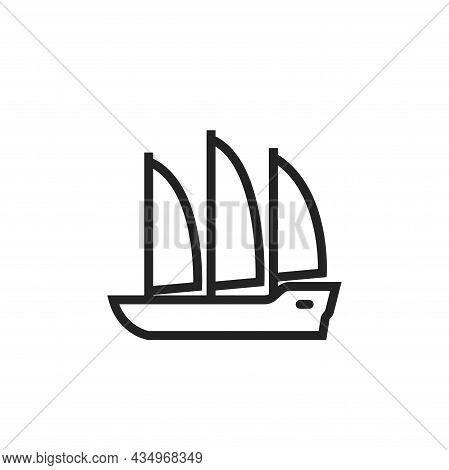 Sailing Ship Line Icon. Vessel For Sailing Trip