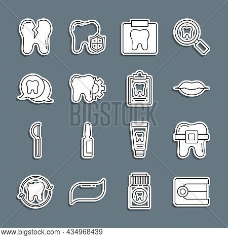Set Line Dentures Model, Teeth With Braces, Smiling Lips, X-ray Of Tooth, Tooth Treatment Procedure,