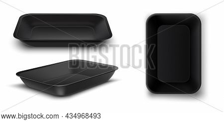 Realistic Design Template With Black Food Tray On White Background.