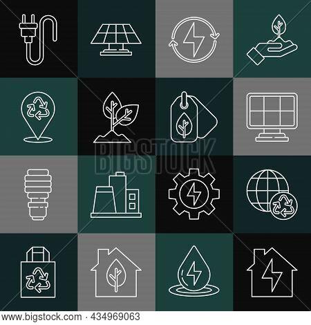Set Line House And Lightning, Planet Earth Recycling, Solar Energy Panel, Lightning Bolt, Plant, Rec
