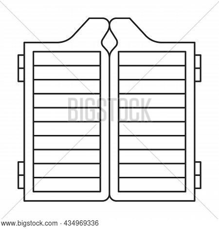 Door Saloon Vector Icon. Outline Vector Icon Isolated On White Background Door Saloon.