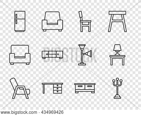 Set Line Armchair, Coat Stand, Chair, Office Desk, Refrigerator, Chest Of Drawers, And Table Lamp On
