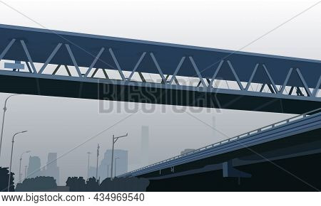 Vector Illustration Depicting A City Street With Overpasses And Bridges In The Fog For The Design Of